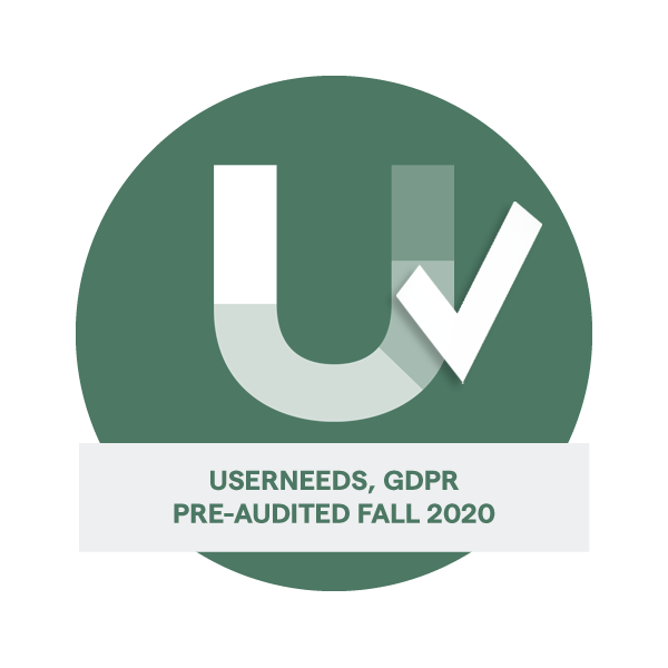 Userneeds, GDPR Pre-audited FAll 2020